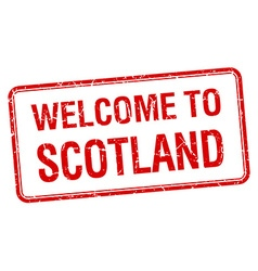 Welcome to scotland red grunge square stamp vector
