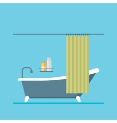 Modern design shower room with a curtain vector