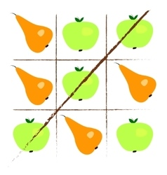 Tick-tack-toe with apples and pears vector