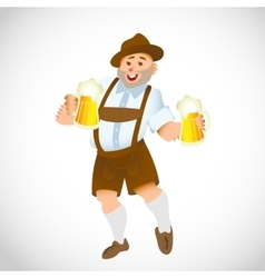 Bavarian man with a big glass of beer vector