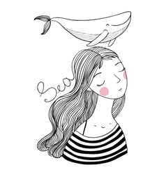 Beautiful young girl sailor with a whale vector