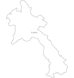 Black White Laos Outline Map vector image