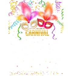 Bright carnival masks with feathers and golden vector image