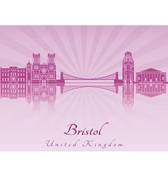 Bristol skyline in purple radiant orchid vector