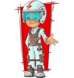 Cartoon racer in uniform with helmet vector image
