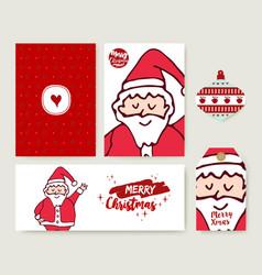 christmas santa claus cartoon holiday card set vector image