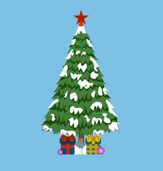 christmas tree wtih gifts and red star xmas icon vector image vector image