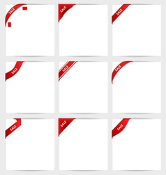 Collection of red corner ribbons sale vector image