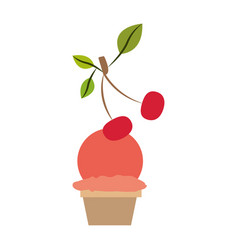 Colorful silhouette of ball ice cream in cup with vector