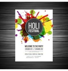 Colourful splashes holi festival poster vector