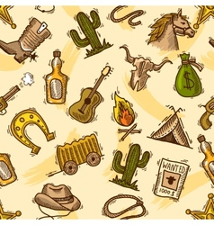 Cowboy seamless pattern color vector image vector image
