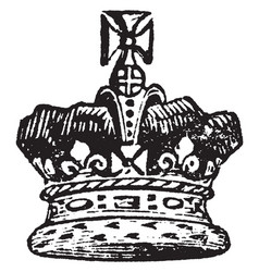 Crown of the prince of wales vintage engraving vector