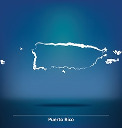 Doodle Map of Puerto Rico vector image vector image