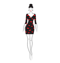 fashion model sketch silhouette of beautiful vector image