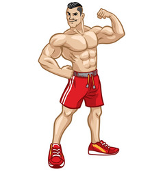 fitness men pose by showing his athletic body vector image vector image