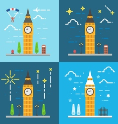Flat design 4 styles of big ben clock tower london vector