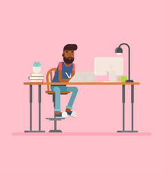 Freelance designer character in flat style vector