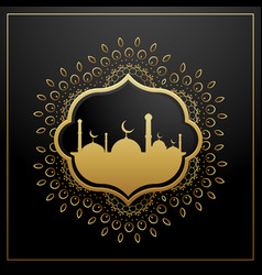 Golden eid festival greeting card design with vector