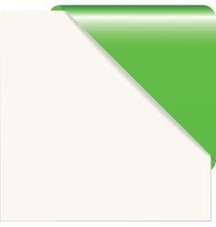 Green paper corner vector image