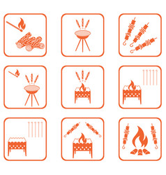 grilled kebab icons set vector image