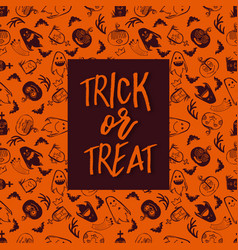 halloween pattern with frame and text vector image vector image