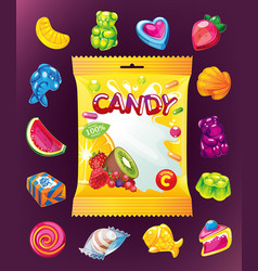 jelly candy set and packaging vector image vector image