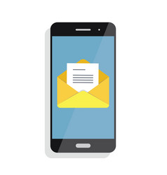 opening of an incoming email to a smartphone e vector image vector image