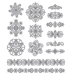 Ornamental elements borders and rosettes vector