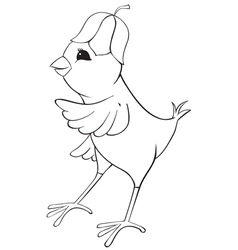 Outline chicken with flower cap vector