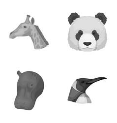 Panda giraffe hippopotamus penguin realistic vector