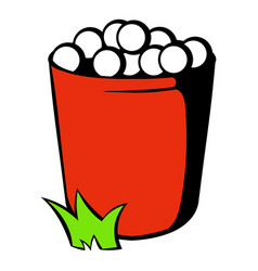 Red basket with golf balls icon icon cartoon vector