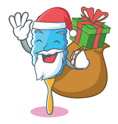 Santa with gift feather duster character cartoon vector
