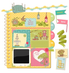 Scrapbook design elements - summer garden doodles vector