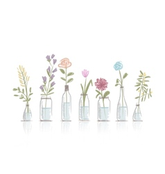 Set of floral pots for your design vector image