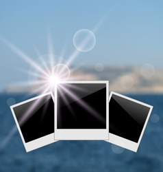 Set photo frame on blurred seascape background - vector