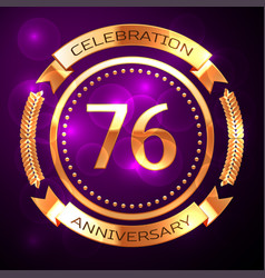 Seventy six years anniversary celebration with vector