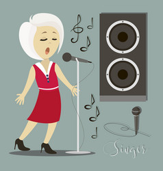 Singing girl pop singer vector