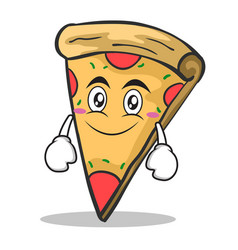 smile face pizza character cartoon vector image