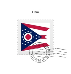 State of ohio flag postage stamp vector