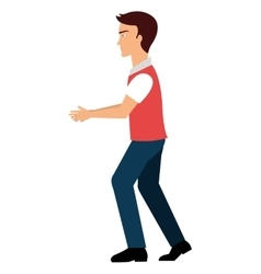 Young male walking isolated colorful cartoon vector image