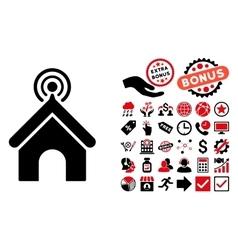 Telecom Office Flat Icon with Bonus vector image