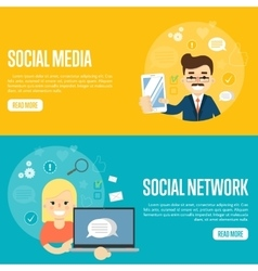 Social media network website templates vector