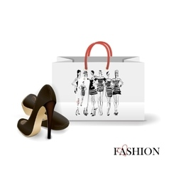 Shopping bag with a print - fashion vector