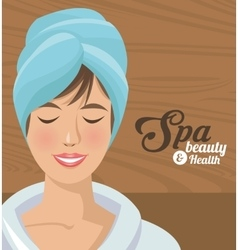 Spa beauty and health woman smiling with towel vector