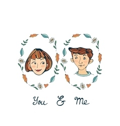 You and me romantic set with two prortraits vector image