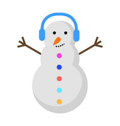 New year snowman with blue earphones on head vector