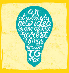 Light bulb shape inspirational lettering quote vector