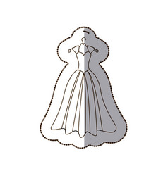 elegant bride dress icon vector image