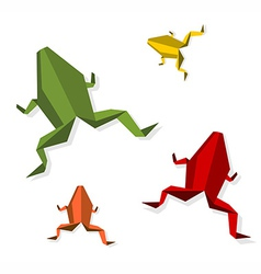 Group of various origami frog vector