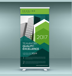 Stylish green roll up presentation banner template vector